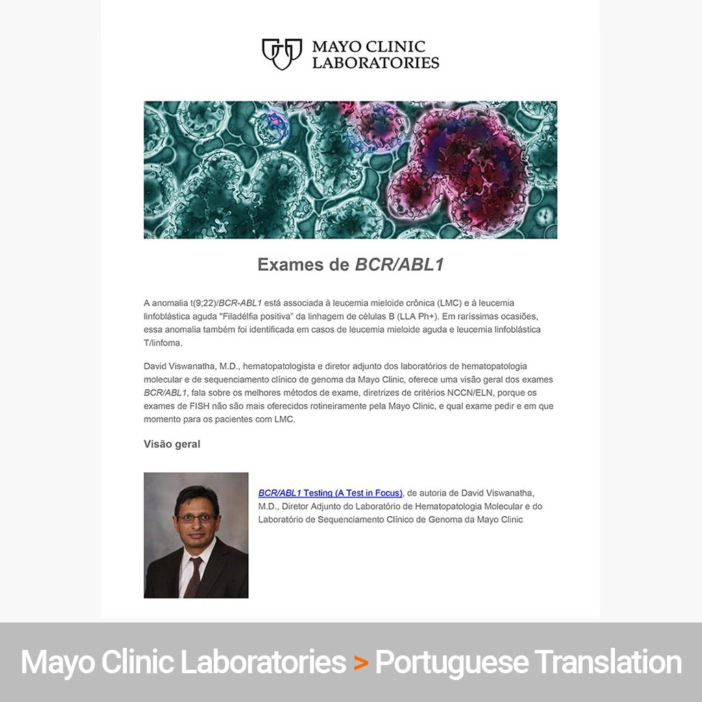 Portuguese Translation for Mayo Medical Laboratories
