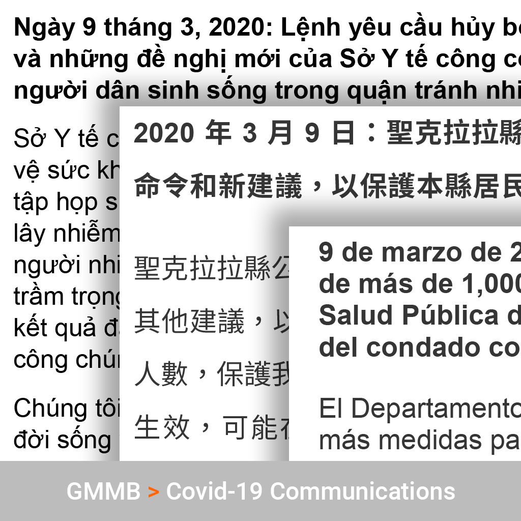 Translation into Vietnamese, Chinese and Spanish for Covid-19 Guidelines